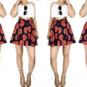 BAND OF GYPSIES | Navy Blue & Orange Floral SkirtM